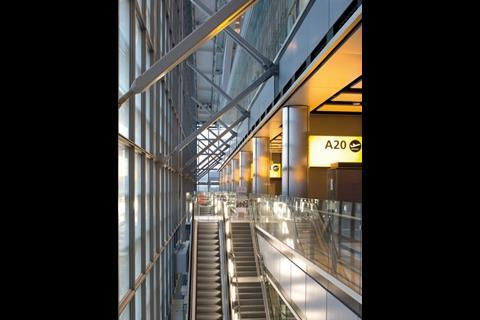 Escalators – a full 131 of them – are a constant theme in this four-storey terminal